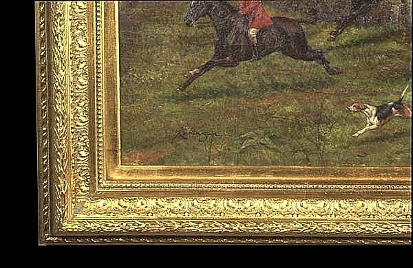 304: Oil painting on canvas, English fox hunting scene - 3