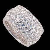 Cartier style 18K white gold wide diamond eternity ring