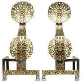 An Arts & Crafts brass and wrought iron andirons