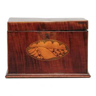 English mahogany tea caddy with inlay