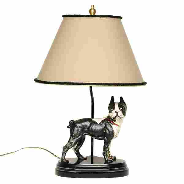Cast iron Boston Terrier lamp