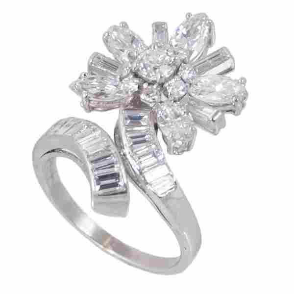 Ladies platinum diamond floral design ring