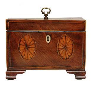 English mahogany tea caddy with double medallion inlay