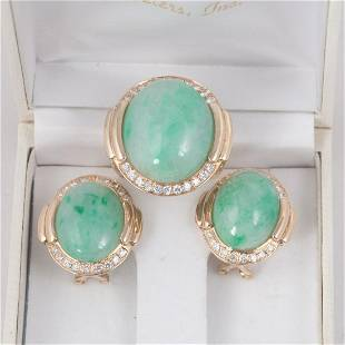 14K yellow gold suite of jade and diamond earrings and