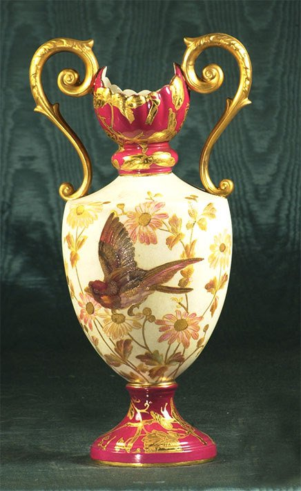 1005: English porcelain double handled, ruby and gold e