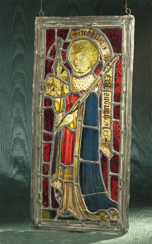 "1008: Stain glass panel depicting Saint: 10-1/4"" wide,"