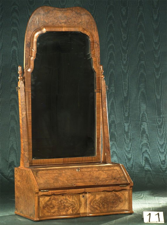 1011: English burl walnut shaving stand with mirror, c.
