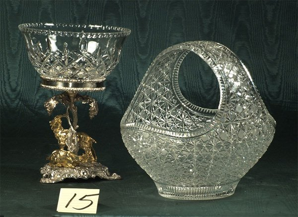 1015: Exceptional English silver and crystal centerpiec