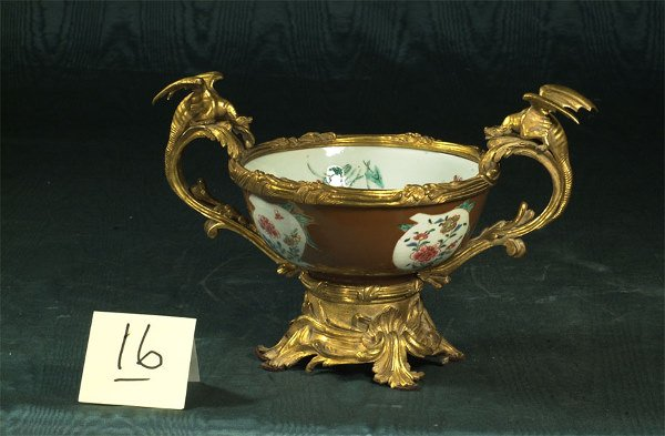 1016: Chinese porcelain center piece with bronze doré m