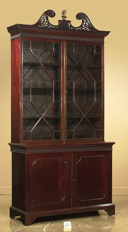 1220: Fine pair of Chippendale mahogany bookcase cabine