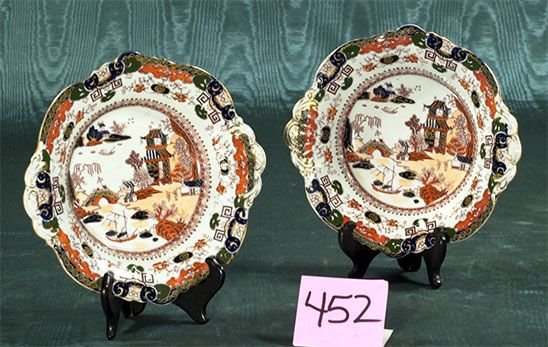 1452: Pair of Masons ironstone dishes with scenic and f