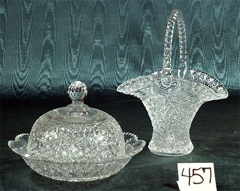 1457: Russian cut crystal basket and a covered cheese d