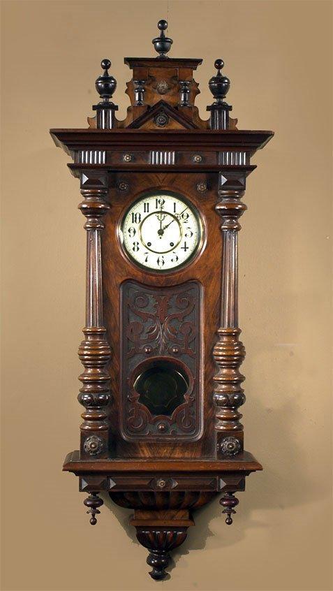 1460: German carved walnut spring driven wall clock, c.