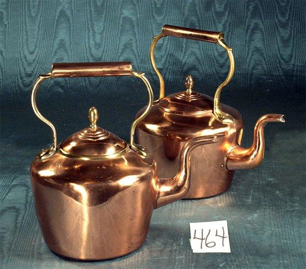 1464: Two antique English copper tea kettles