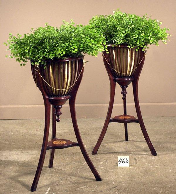 1466: Pair of English Regency, mahogany planters with b