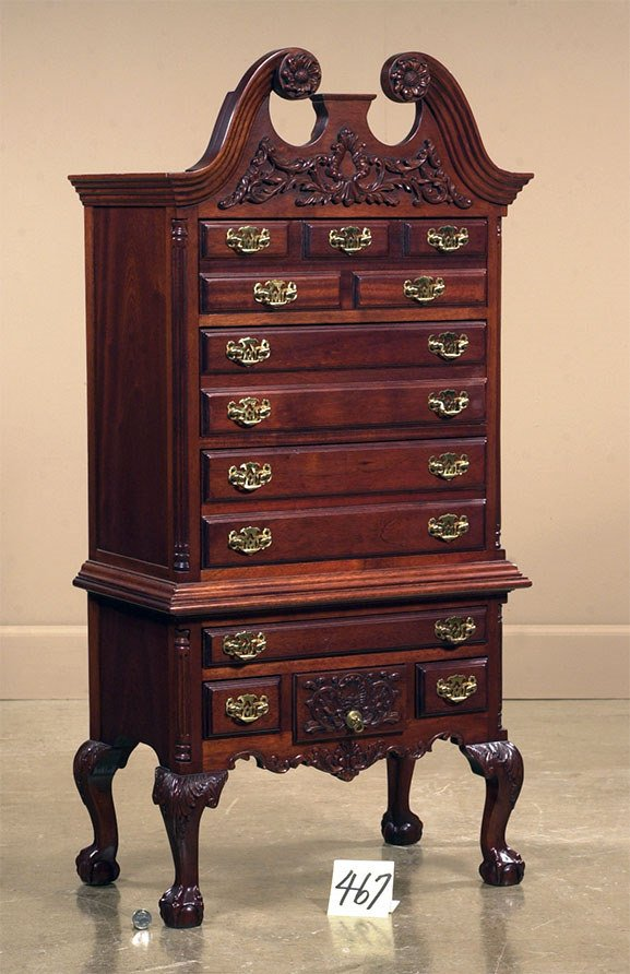 1467: English miniature salesman sample carved mahogany
