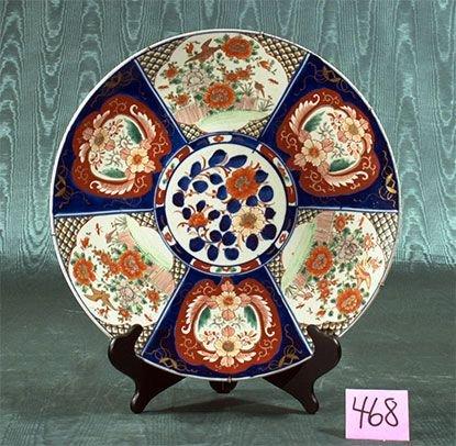 1468: Imari porcelain charger with cobalt blue, green a