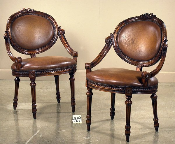 1469: Fine pair of Country French carved mahogany sienn