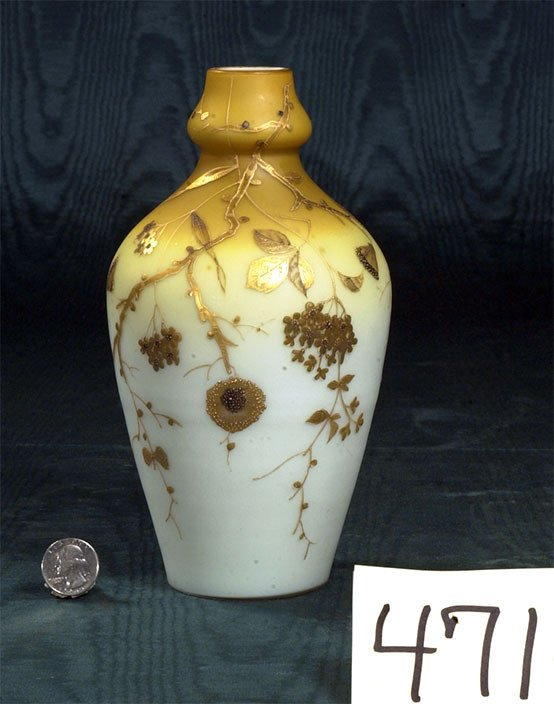 1471: French cameo art glass vase, pale yellow ground w