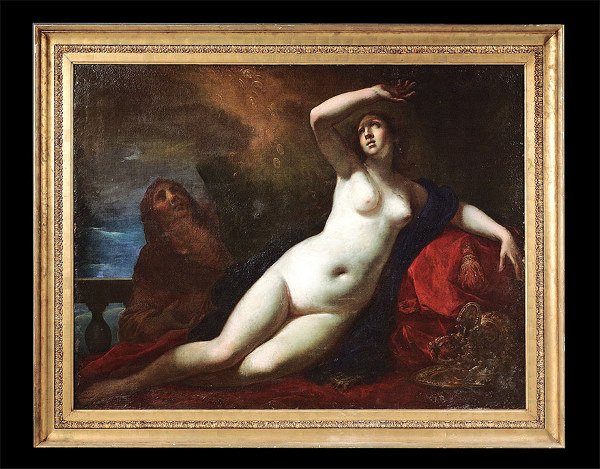 1704: Important early Italian oil on canvas painting de