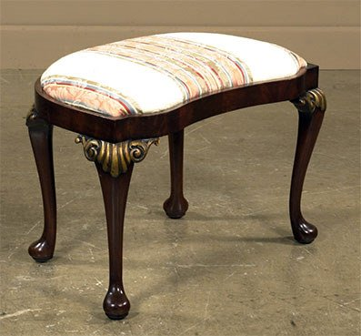 1824: Queen Anne walnut kidney shaped stool on cabriole