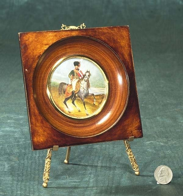 1002: Miniature painting on ivory of a soldier on horse