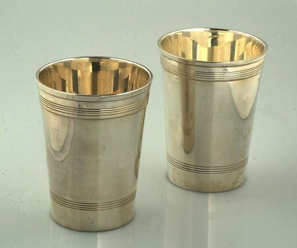 "1006: Two silver mint julep cups, 4"" tall"