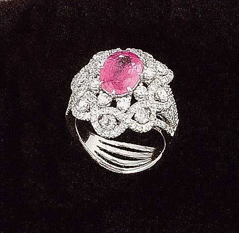 1014: 18 kt. white gold pink sapphire and diamond ring
