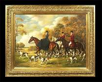 1126 Oil painting on canvas English fox hunting scene