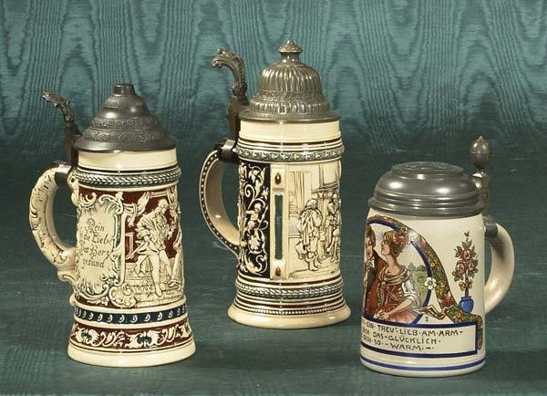 1451: Group of three German beer steins with pewter top