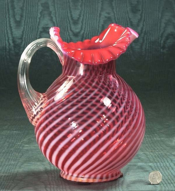 1452: Unusual American cranberry swirl glass pitcher wi