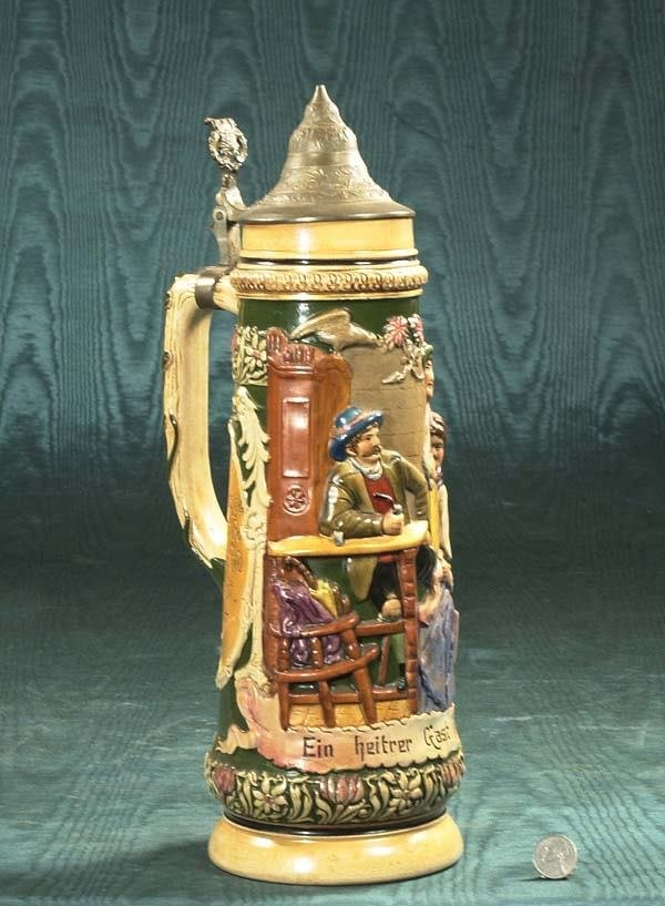 1454: Large German beer stein with pub scene decoration