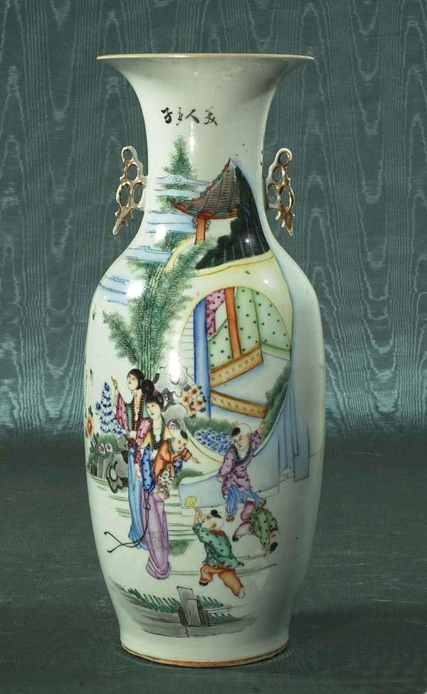 1457: Superb Chinese Famille Rose porcelain urn depicti