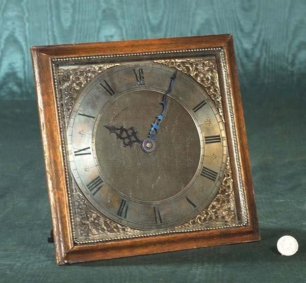"""1458: Brass mantle clock in a wooden frame, AF, 9"""" wide"""