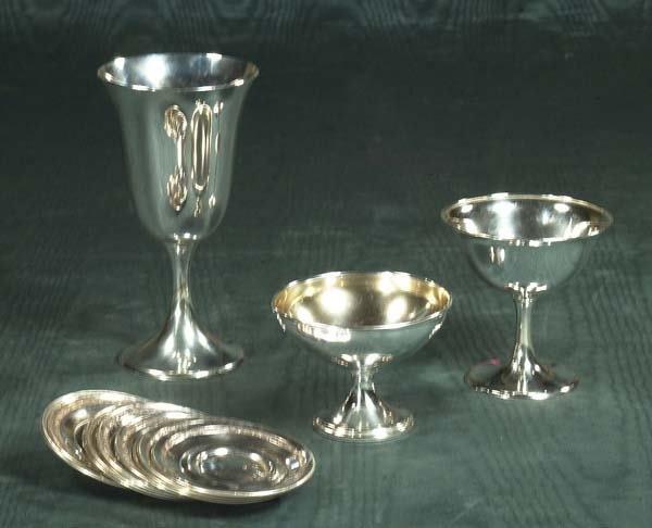 1459: Set of seven Gorham sterling silver goblets, nine