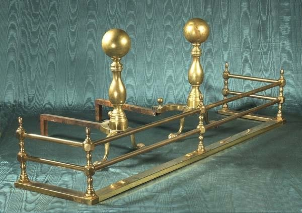 1464: Pair of American brass andirons with cannon ball