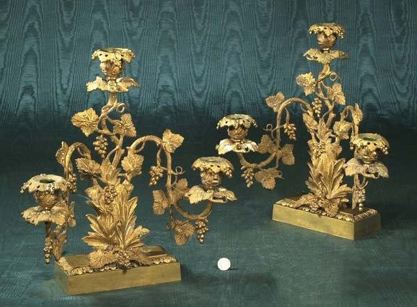 1469: Pair of three branch bronze candelabra with leaf