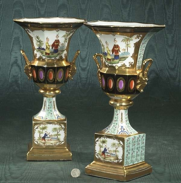 1499: Fine pair of English porcelain vases with scenic