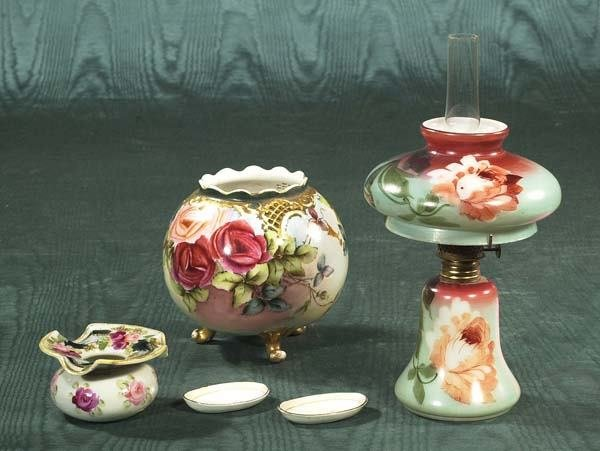 4: Hand painted Austrian china rose bowl along with a s