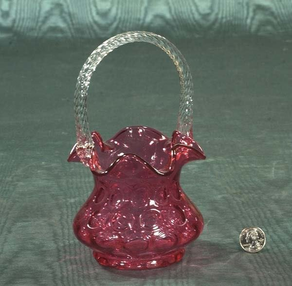 5: Cranberry glass basket with glass handle, c.1890, 8""