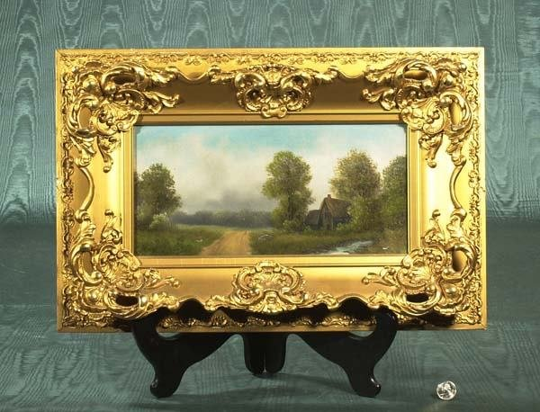 9: Oil painting on canvas, landscape scene with cottage