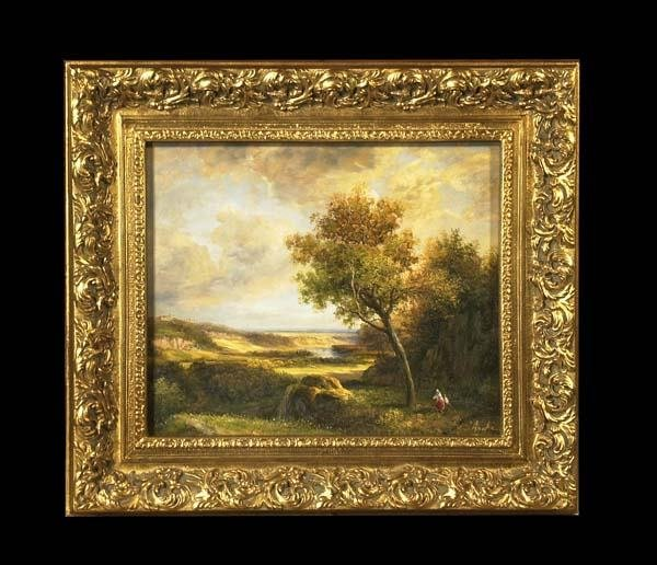 18: Oil painting on canvas, English landscape with rive