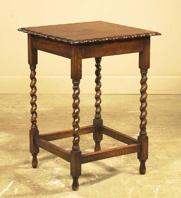 20: English oak side table with scalloped top and barle