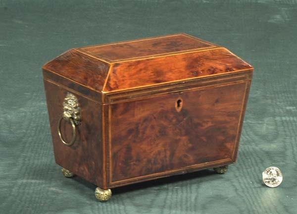 21: Inlaid Sheraton burl elm tea caddy with fitted inte