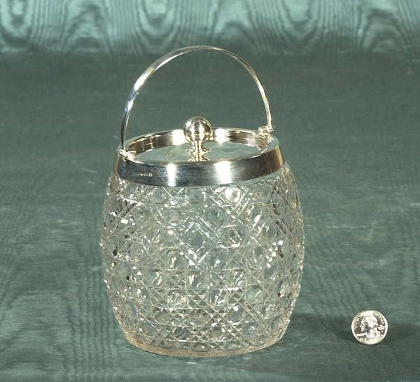 22: Exceptional cut crystal biscuit jar with sterling s
