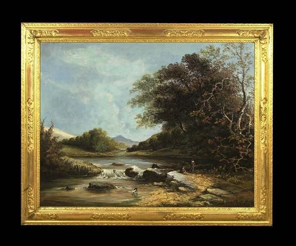 64: Oil painting on canvas, English river scene with mo