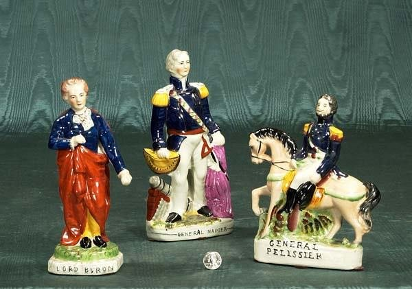 451: Group of three Staffordshire figures, Lord Byron,