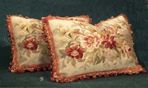 "458: Two tapestry pillows with floral design, 18"" x 26"