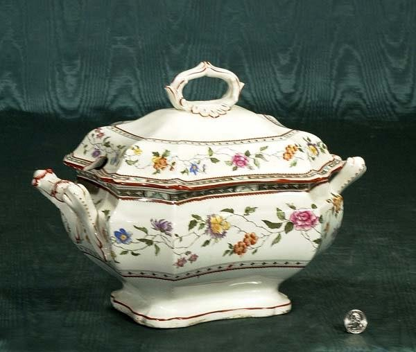 459: English Cauldon china soup tureen with floral deco