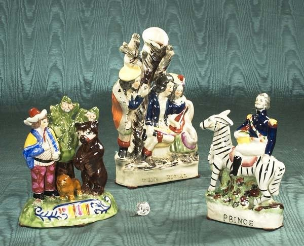 "462: Group of three Staffordshire figures, ""The Rival,"""